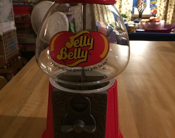 Vintage Carousel Jelly Belly Red Metal Gumball Machine Coin Operated Glass Globe
