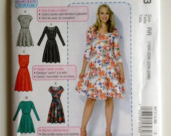 McCall's 7313, Misses Flared Dress, Learn to Sew, Beginner Sew, Pullover Dress, New uncut sewing pattern