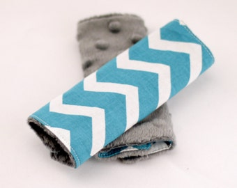 Carseat Strap Covers in Teal Chevron and Gray Minky