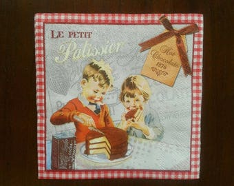 set of 2 small PASTRY 1876 paper napkins