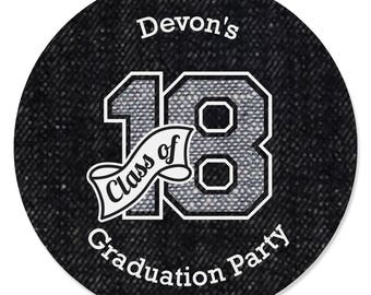 Graduation Party Favor Sticker Labels - Custom All Star Grad Circle Stickers - 2018 Graduation Party Supplies - 24 Stickers