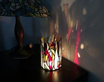 Rainbow Stained Glass mosaic Candle Holder, tealight holder, Light box, Nightlight Housewarming gift, Patio llumination, Outdoor indor decor