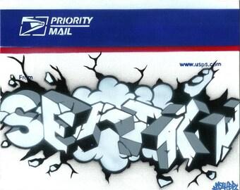 8.5x11 From Seattle Postal Sticker Stencil Graffiti Art Print