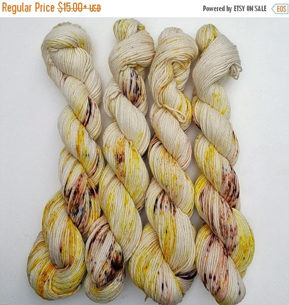 Lemon Poppy- 100 cotton, Hand Dyed, Speckled Variegated Yarn