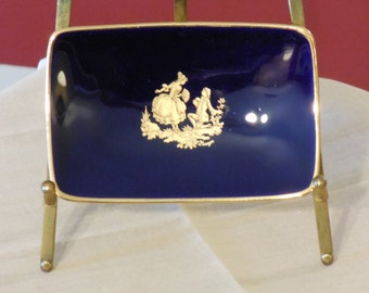 Porcelaine d'Art Limoges France Cobalt and Gold Trinket or Pin Dish