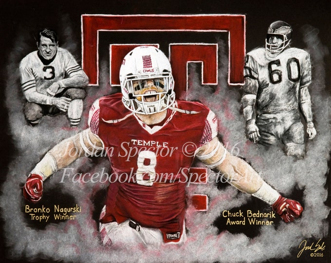 Tyler Matakevich Art Print - Temple Owls - Temple University - Temple Dorm Decor - Wall Art- Man Cave - Temple Football - Gift Ideas