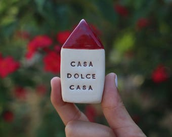 Casa Dolce casa Home Sweet Home Message houses Miniature houses  Little rustic houses Ceramic house Cottage Custom Note house