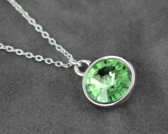 Initial Birthstone Necklace August Birthstone Jewelry
