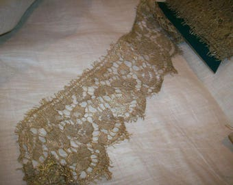 Metallic gold metal lace 1920s authentic