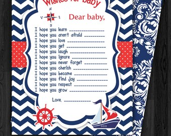 Sailing Navy Blue Baby Wish Card, boat, chevron, boy, blue, steering wheel, navigation compass, clouds