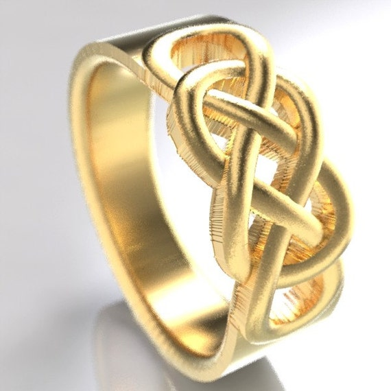 Celtic Wedding Ring With Infinity Knot Design in 10K 14K 18K Gold, Palladium or Platinum, Made in Your Size CR-767