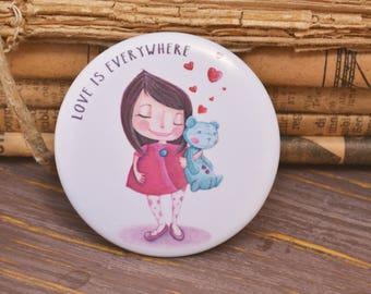 Illustrated Pin - school badge illustration, love is everywhere