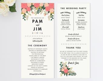 Custom Wedding Program  Vintage Inspired Wedding Program  Order of Ceremony  Botanical Wedding Program  Spring Wedding Program