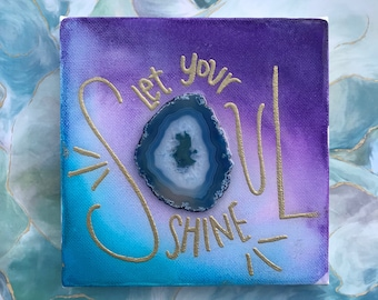 """boho aura jewel tone on canvas with hand lettered """"let your soul shine"""" with glossy resin finish"""