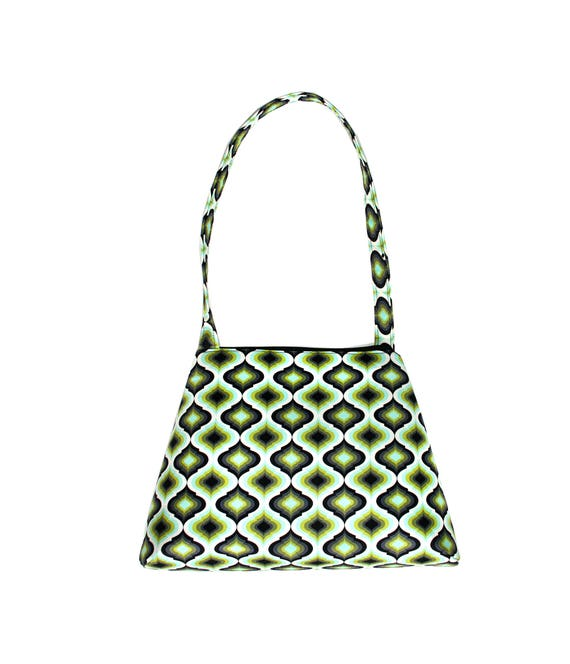 SALE!! Green, geometric, op art, retro style, tall Retro