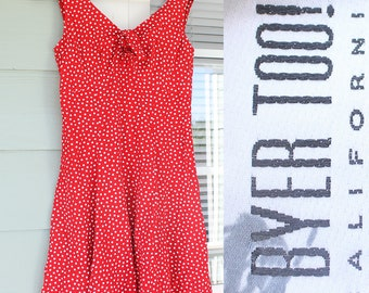 Vintage 1990s Red Polka Dot Dress by Byer Too! - Small