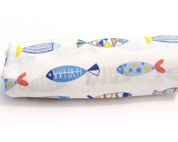 Diy baby swaddle blanketmuslin wrap100 cottonfish printblanket diy baby swaddle blanketmuslin wrap100 cottonfish printblanket kitready to sewbaby wrapready to shipdo it yourself from chickadeecraftworks on solutioingenieria Images