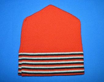 70s Red Black White Striped Wool Winter Hat