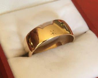 Superb vintage 9ct gold men's wedding ring - 1972