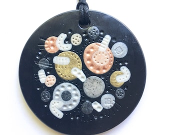 Polymer Clay Pendant, Circle Pendant, Round Necklace, Necklace, BLACK GOLD COPPER