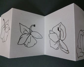 Accordion book, falling orchids, art book, mini book, artist book, line drawing, ink sketch, book art, display book, orchids