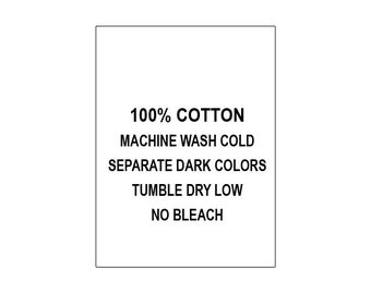 100 PRINTED GARMENT LABELS (Style #52-100% Cotton...)