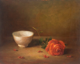Flower and Bowl - 10.6 x 13.8 in - ORIGINAL OIL Painting, Still Life, Flowers, UNFRAMED, Painting by Bruno M Carlos