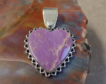 Phosphosiderite Pendant,Sterling Silver Pendant, Healing Stone, Heart Shaped Pendant,Valentines Day Gift, 925, Ladies Necklace, 1124