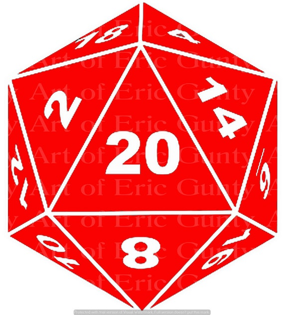 Red D20 Dice Gaming Birthday - Edible Cake and Cupcake Topper For Birthday's and Parties! - D24126