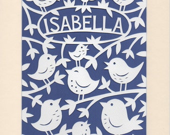 Baby Girl Gift, Personalised Papercut Art for your Nursery, Woodland Birds, Lovely Gift for Baby Isabella or Name of Your Choice