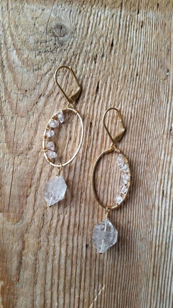 Herkimer diamond filled brass ovals with large Herkimer dangles