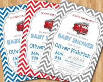 Firetruck Baby Shower Invitation. Baby boy chevron invites. Baby boy birthday party invitations. Any custom color. DIY digital printable.