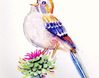 Vogel op een bloem. Handgeschilderde aquarel.