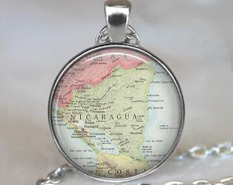 Nicaragua map pendant, Nicaragua map necklace Nicaragua necklace, Nicaragua pendant, map jewelry map keychain