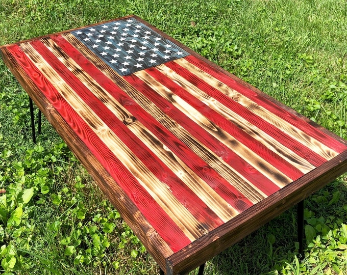 American Flag Coffee Table | Thin Blue Line | Thin Red Line