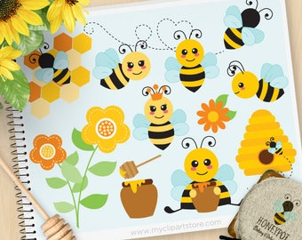 Buzzy Bumble Bees Clipart, Cute bee, Honey Comb, Bee Hive, Spring flowers, honey pot, summer, Commercial Use, Vector clip art, SVG Cut Files