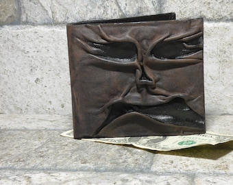 Necronomicon Evil Dead Leather Men Bi Fold Wallet Goth Black Brown Zombie Monster Face Horror HP Lovecraft Fantasy Fathers Day Gift 538