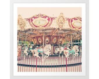 Carousel horse, Nursery wall art, nursery decor,  carousel horse wall art, nursery wall decor,pastel nursery decor,Large nursery canvaS