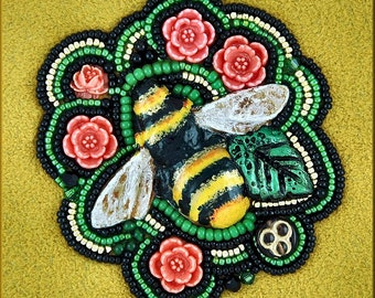 Really Cute Bumble Bee Bead Embroidery Kit by Kristy Zgoda