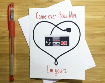 Video Game Valentines Card, Cute Love Card, Romantic Card, I Love You, Happy Anniversary, Video Game Nerd, Card for Boyfriend, Card Husband