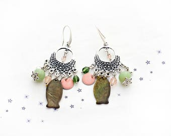 khaki Pearl sequin enamel fish earrings pink powder nude