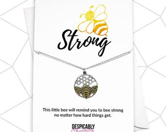 Silver and Gold Bee Necklace, Honey Bee Charm, Bee Strong Necklace, Personalised Necklace, Honey Bee Necklace, Birthstone Jewellery