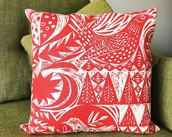 "Cushion Cover St Judes Design ""Bird Garden "" by Mark Hearld Nature Bird Design"