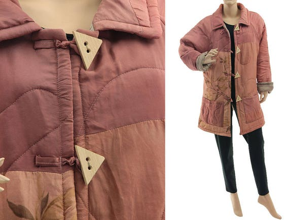 in silk Boho in L plus US 12 lightweight size 100 pink dusty jacket pink size dusty silk silk dusty jacket pink patchwork M jacket 16 dqEx6E