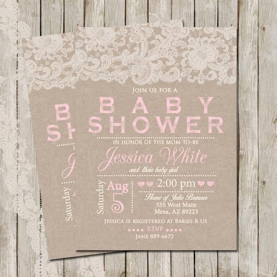 Rustic Baby Shower Invitation Burlap and Lace Invitation