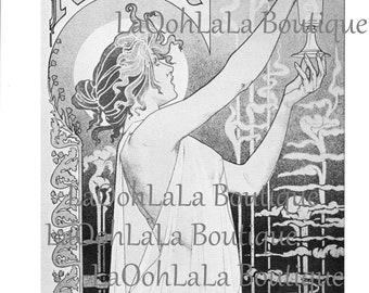 1896 Absinthe Faerie Digital Printable Black & White Print Art Nouveau Goddess Mythology Fairy Fantasy Card Image Clipart Graphic Download