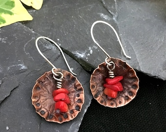 hammered domed copper earrings / copper dome dangle earrings / textured earrings /hand crafted copper earrings / red coral chips / gift box