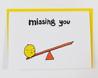Missing you card lonely lump on seesaw card