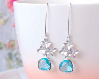 Aquamarine Drop Earrings Silver Flower Dangle Earrings Cherry Blossom Earrings Light Blue Earrings Aquamarine Jewelry Valentines Day Gift