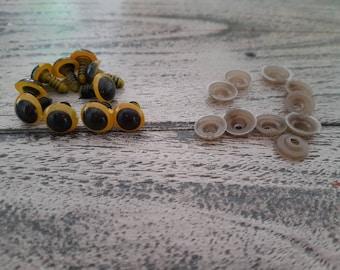 12mm Yellow Safety Eyes, Plastic Safety Eyes, Doll Eyes, Teddy Bear Eyes, Amigurumi, Amigurumi Eyes, Plush Eyes, Soft Toy Eyes, 12mm
